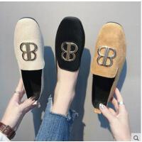 新款韩版时尚女鞋软底平跟单鞋女方头绒面平底鞋休闲鞋子