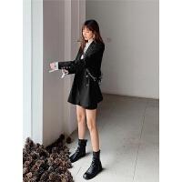 七格格休闲西装外套女韩版宽松2019新款秋设计感小众黑色西服上衣