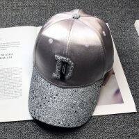 鸭舌帽女士韩版帽子百搭2018新款潮人时尚英伦亮片字母黑色棒球帽 可调节
