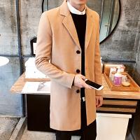男士秋冬中长款风衣男青年修身毛呢大衣外套男休闲英伦时尚风衣大码外套潮