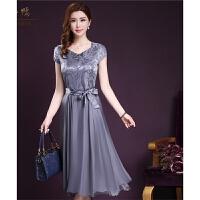 妈妈装夏装雪纺连衣裙35-40-50岁气质中长款修身显瘦中年大码裙子