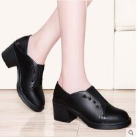 古奇天伦新款韩版百搭潮黑色英伦皮鞋早春小清新高跟鞋粗跟女鞋子春季KF08862