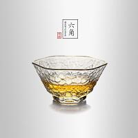 当当优品 描金六角锤目纹品茗杯 光阴系列 手工高硼硅玻璃茶杯 功夫茶具 70ml