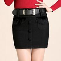 毛呢包臀半身短裙女秋冬款新款兔毛拼接口袋款大码显瘦一步裙