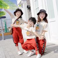 亲子装一家三口母女装夏装母子装运动套装