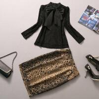 1000欧洲站春夏女装新款OL长袖蕾丝上衣+包臀豹纹裙两件套套装女 黑色