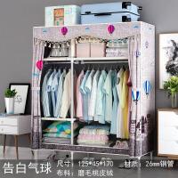 f4v 送2抽屉2米折叠布衣橱收纳组装简易布衣柜实木双人