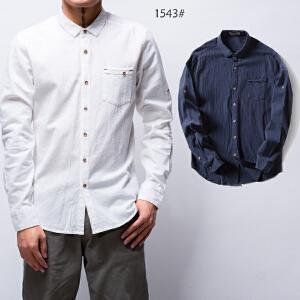 2017新款艾酷狼男士新款韩版亚麻衬衫男长袖休闲棉麻衬衣简约修身寸衫男装潮