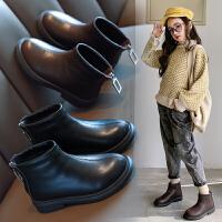 女童短靴皮鞋新款靴子�和�加�q二棉�R丁靴秋冬款