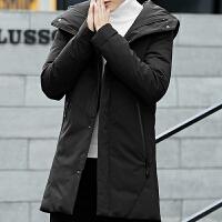 羽绒服男学生韩版潮冬装帅气高中生冬季连帽外套中长款修身型男装 黑色 M