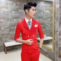粉色七分袖西服套装男士韩版修身发型师夜店新郎结婚影楼中袖西装