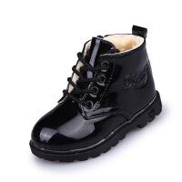 2017秋冬款韩版儿童马丁靴男童鞋皮鞋女童靴子单靴短靴宝宝鞋 大棉黑色 26