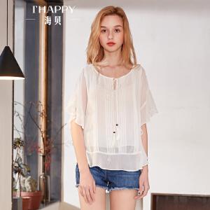 海贝2018夏装新款女 白色圆领荷叶边蝙蝠袖中袖微透小衫雪纺衬衫