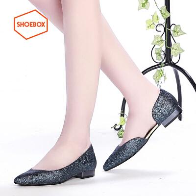 达芙妮旗下shoebox鞋柜春新款性感侧空套脚单鞋女时尚亮片尖头休闲平跟女鞋