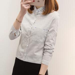 【每满200减100元】韩版2018春季新款条纹长袖衬衣女立领单排扣学生打底衫衬衫女