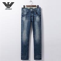 专柜正品Armani阿玛尼 男装四季牛仔裤时尚休闲百搭牛仔裤中腰小直脚 V6J08 3V