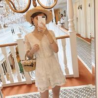 新款V领网纱刺绣蕾丝短袖连体裤女百搭超仙白色阔腿连衣裙裤 杏色