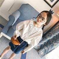 女童2018春季新款韩版蕾丝公主上衣女孩翻领圆领长袖衬衫
