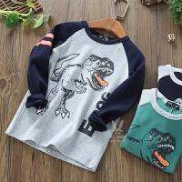 男童长袖t恤潮童儿童纯棉恐龙衣服宝宝圆领T恤打底衫