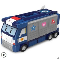 变形警车珀利大型卡车救援运输总部 珀利警长儿童玩具套装