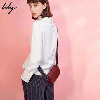 【每满200减100】Lily2018冬新款女装后背绣线衬衫OL直筒通勤衬衫女117410C4107