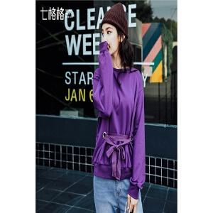 【会员节!每满100减50】紫色卫衣女装新款春装韩版学生宽松无帽bf风圆领套头chic长袖