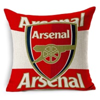 新款欧洲杯被枕 足球俱乐部 阿森纳足球抱枕亚麻棉麻沙发抱枕宜家汽车靠垫软装装饰枕阿森纳 红色