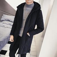 冬季羽绒服男中长款韩版修身连帽加厚外套青年男士羽绒大衣