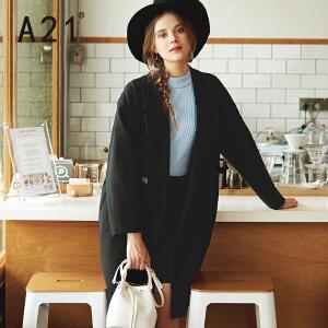 A21风衣女2017秋季新款秋季翻领外套 中长款休闲长袖时尚女装