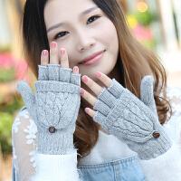 手套女冬天情侣韩版保暖针织兔羊毛学生写打字可爱露半指翻盖手套