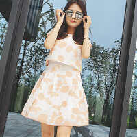 厂家直销2018女夏装韩版欧根纱刺绣圆领无袖时尚修身显瘦a型中长款连衣裙