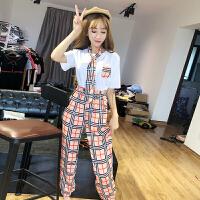 套装女夏2018新款韩版宽松纯棉圆领修身T��格子领带休闲裤三件套 白色