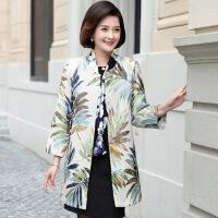 中老年女装秋装中长款外套一件妈妈装2017新款复古印花风衣