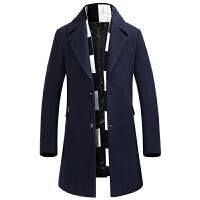 新款毛呢大衣男中长款韩版修身呢子风衣商务休闲加厚青年外套冬季 藏青色 L