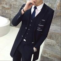 春季男士韩版修身中长款风衣英伦西装青年潮男休闲发型师印花外套