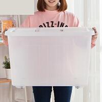 透明收纳箱塑料有盖大储物箱子装书储存整理储蓄盒带轮子 120L 65*48*42cm 透明