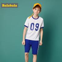 巴拉巴拉童装男童套装中大童儿童两件套夏装2018新款运动T恤裤子