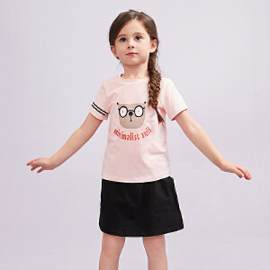 【尾品汇 5折直降】amii童装2018夏季新款女童休闲套装T恤短裙儿童两件套裙装