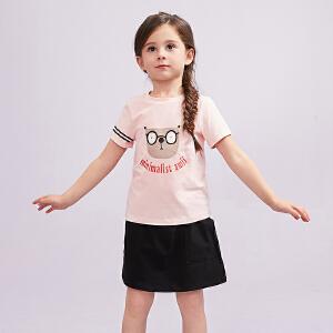 AMII童装2018夏季新款女童休闲套装T恤短裙儿童两件套裙装