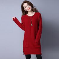 秋冬韩版加厚毛衣女套头中长款羊绒衫宽松百搭针织羊毛打底衫外套
