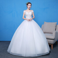 婚纱礼服新款新娘齐地一字肩韩式公主显瘦大码简约婚纱夏季 白色