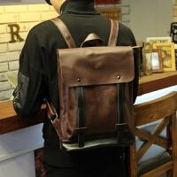 新款韩版大学生书包休闲背包男潮流复古皮质潮流男士双肩包旅行包回家 咖啡色