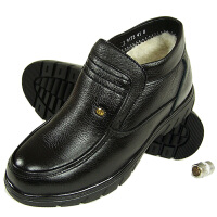 AOTU 男士棉鞋男冬季保暖加绒男鞋子全牛皮厚底男鞋休闲皮鞋