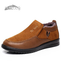 欣清冬季新款老北京布鞋男鞋棉鞋时尚休闲加绒男靴短靴中老年