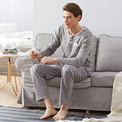 长袖男睡衣纯棉家居服100%全棉中厚款休闲V领居家套装可外穿 品质保证 售后无忧