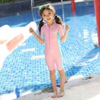 儿童泳衣男童连体中大童小童长短袖沙滩防晒男孩女孩可爱泳衣