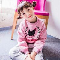 女童卡通卫衣秋装粉色中大童休闲套头衫儿童长袖外套上衣