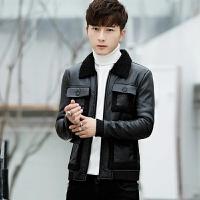 新款男装韩版皮毛一体皮衣青年男士帅气修身冬天保暖外套男潮 黑色