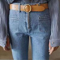 韩版2018新款潮流百搭简约圆形金属PU皮女式宽腰带针扣皮带