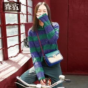 森宿P习惯两个人秋装学院风条纹超长袖圆领套头针织衫女短款女